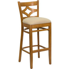 Diamond Back Bar Stool in Cherry Wood Finish