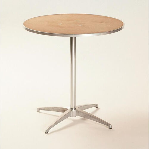 Standard Series Round Pedestal Table with Chrome Plated Steel Column and Plywood Top - 24
