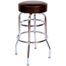 50's Retro Backless 30''H Swivel Bar Stool with Double Ring Chrome Frame and Padded Seat - Black Vinyl
