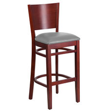 Lacey Series Solid Back Mahogany Wood Restaurant Barstool - Custom Upholstered Seat