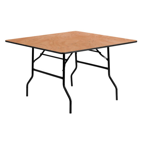 Our 4-Foot Square Wood Folding Banquet Table is on sale now.