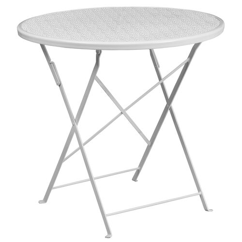 """Our Commercial Grade 30"""" Round White Indoor-Outdoor Steel Folding Patio Table is on sale now."""