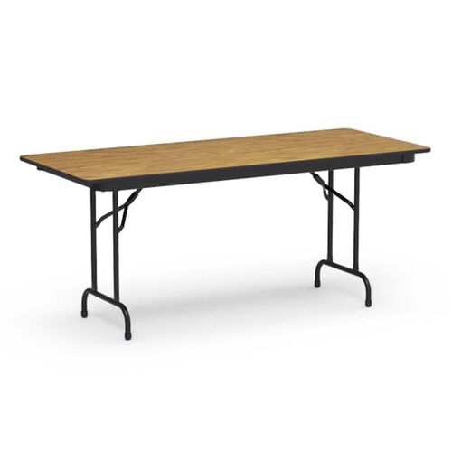 6000 Series Traditional Rectangular Folding Table with Medium Oak Top and Black Frame - 30