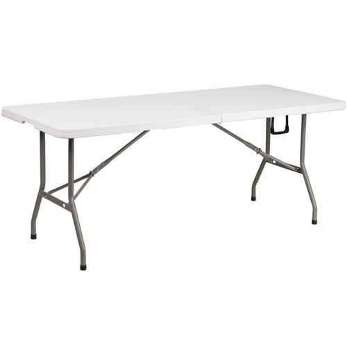 "Our 30""W x 72""L Bi-Fold Granite White Plastic Banquet and Event Folding Table with Carrying Handle is on sale now."
