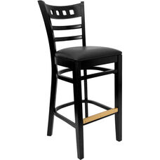 American Back Barstool with Black Finish and Black Vinyl Seat