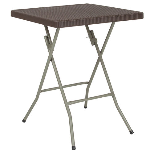 Our 2-Foot Square Brown Rattan Plastic Folding Table is on sale now.