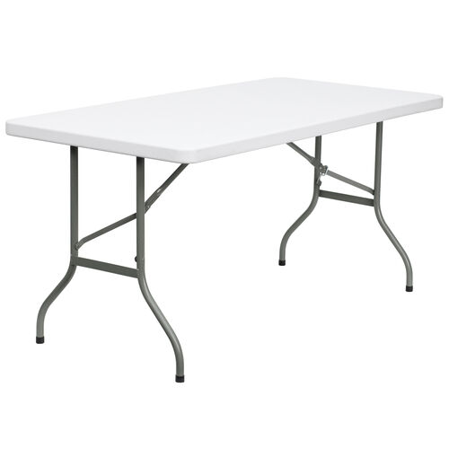 Our 5-Foot Granite White Plastic Folding Table is on sale now.