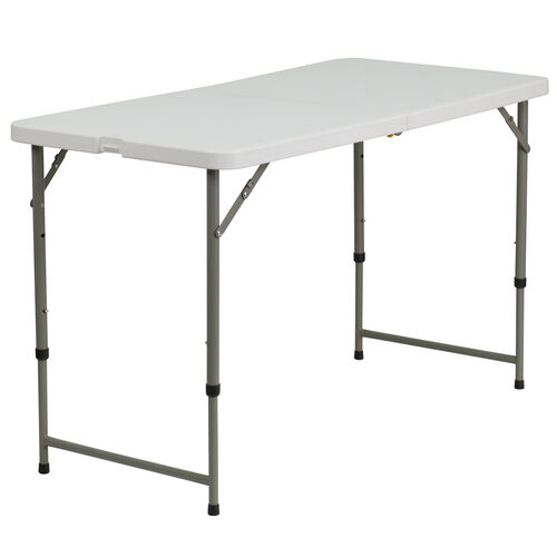 Our 3.97-Foot Height Adjustable Bi-Fold Granite White Plastic Folding Table is on sale now.