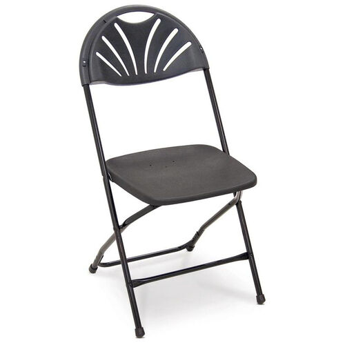 Our Series 5 Steel Frame Stackable Fanback Folding Chair with Polypropylene Seat and Back - Black is on sale now.