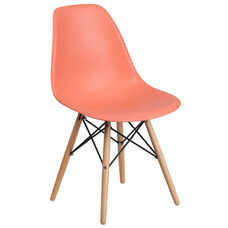 Elon Series Peach Plastic Chair with Wood Base