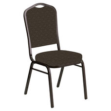 Embroidered Crown Back Banquet Chair in Abbey Mocha Fabric - Gold Vein Frame
