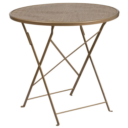 """Our Commercial Grade 30"""" Round Gold Indoor-Outdoor Steel Folding Patio Table is on sale now."""