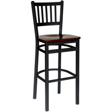 Troy Metal Slat Back Barstool - Black Wood Seat