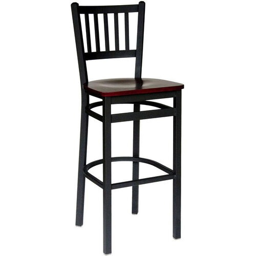 Troy Metal Slat Back Barstool - Black Wood Seat