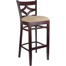 Diamond Back Bar Stool in Dark Mahogany Wood Finish
