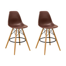 Paris Tower Barstool with Wood Legs and Chocolate Seat - Set of 2