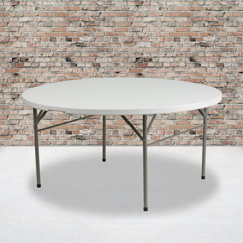 Our 5-Foot Round Bi-Fold White Plastic Folding Table with Carrying Handle is on sale now.