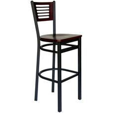 Espy Metal Frame Barstool - Slotted Wood Back and Wood Seat