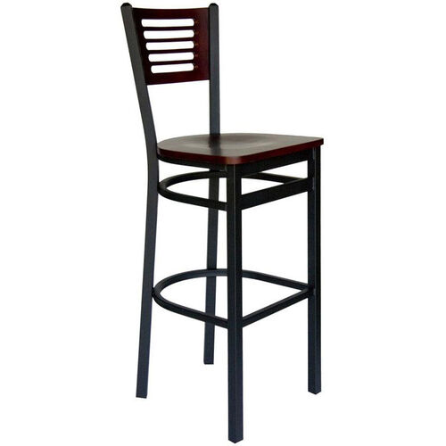 Our Espy Metal Frame Barstool - Slotted Wood Back and Wood Seat is on sale now.