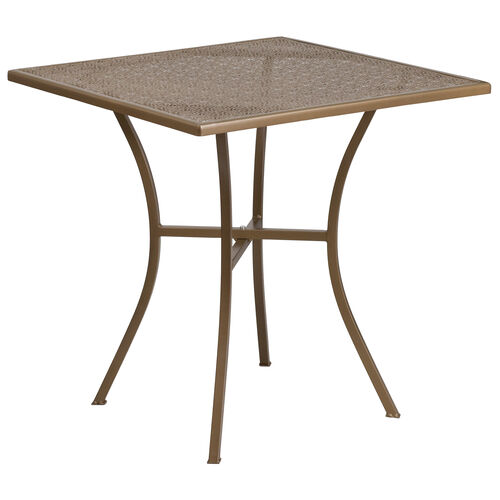 "Our Commercial Grade 28"" Square Gold Indoor-Outdoor Steel Patio Table is on sale now."