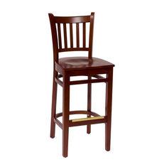Delran Mahogany Wood Slat Back Barstool - Wood Seat