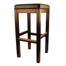 Backless Dark Walnut Finish Wood Barstool with Black Vinyl Seat