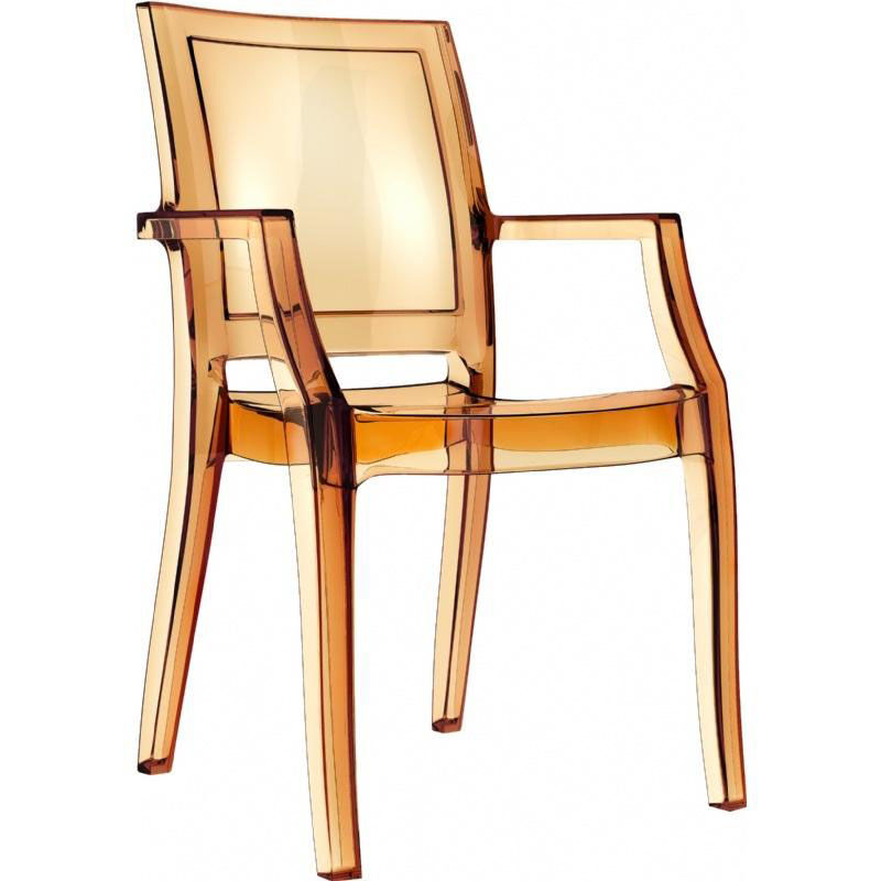 ... Our Arthur Polycarbonate Modern Stackable Dining Arm Chair    Transparent Amber Is On Sale Now.