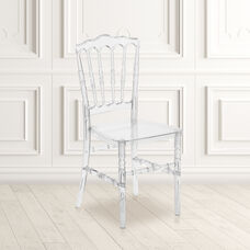 "Flash Elegance Crystal Ice Napoleon Stacking Chair with <span style=""color:#0000CD;"">Free </span> Cushion"