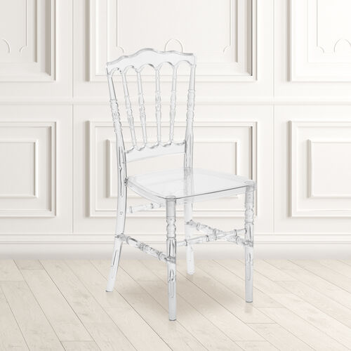 """Flash Elegance Crystal Ice Napoleon Stacking Chair with <span style=""""color:#0000CD;"""">Free </span> Cushion"""