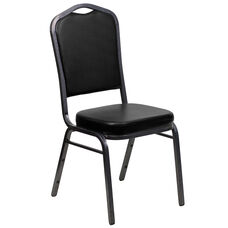 HERCULES Series Crown Back Stacking Banquet Chair in Black Vinyl - Silver Vein Frame