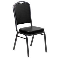 HERCULES Series Crown Back Stacking Banquet Chair in Black Vinyl - Silver Vein Frame