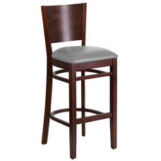 Lacey Series Solid Back Walnut Wood Restaurant Barstool - Custom Upholstered Seat