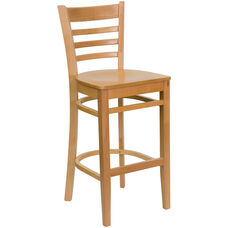 Natural Wood Finished Ladder Back Wooden Restaurant Barstool