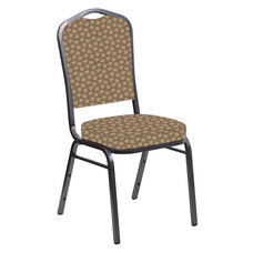 Crown Back Banquet Chair in Scatter Acorn Fabric - Silver Vein Frame