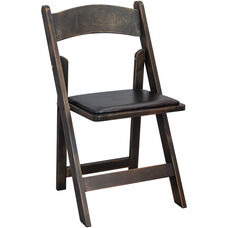 Advantage Wood Folding Wedding Chair with Padded Seat - Antique Black