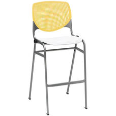 2300 KOOL Series Stacking Poly Armless Barstool with Yellow Perforated Back and White Seat