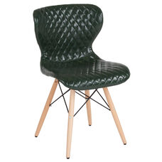 Riverside Contemporary Upholstered Chair with Wooden Legs in Green Vinyl