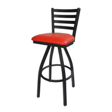 Lima Metal Ladder Back Swivel Barstool - Red Vinyl Seat