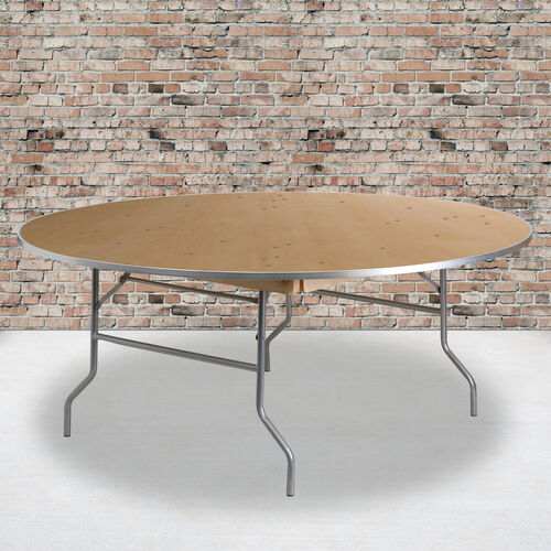 Our 6-Foot Round HEAVY DUTY Birchwood Folding Banquet Table with METAL Edges is on sale now.