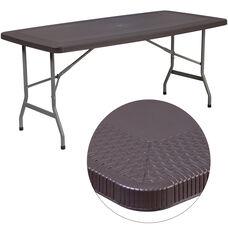 5.5-Foot Brown Rattan Plastic Folding Table