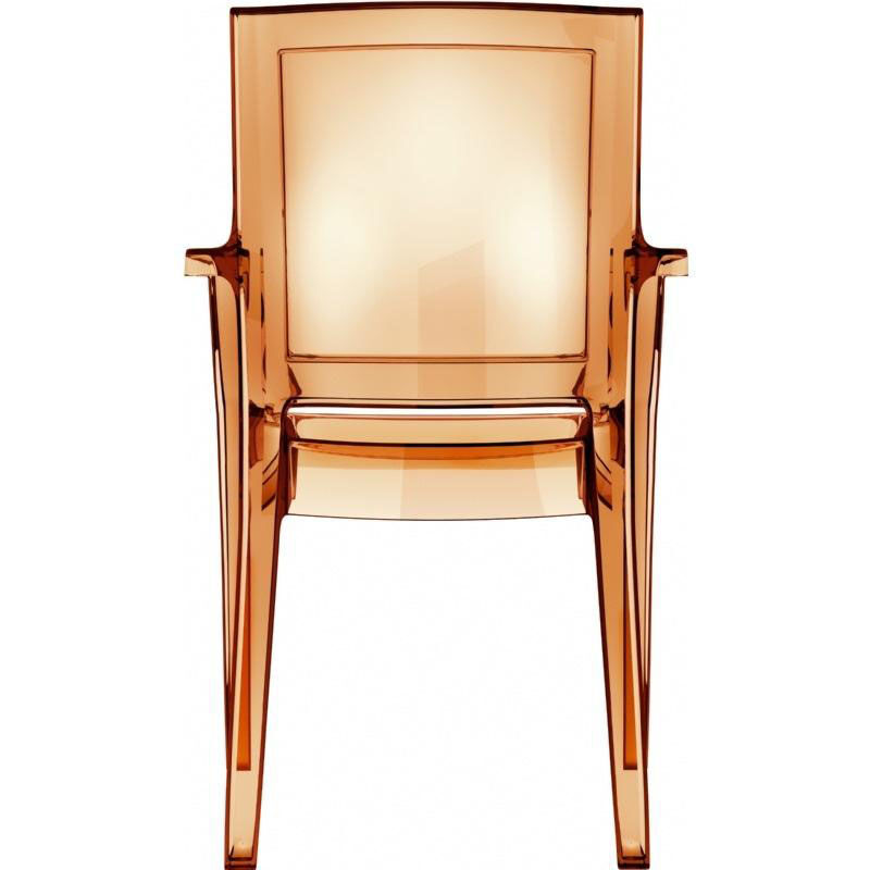 Our Arthur Polycarbonate Modern Stackable Dining Arm Chair   Transparent  Amber Is On Sale Now.