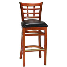 Mahogany Window Back Wood Barstool