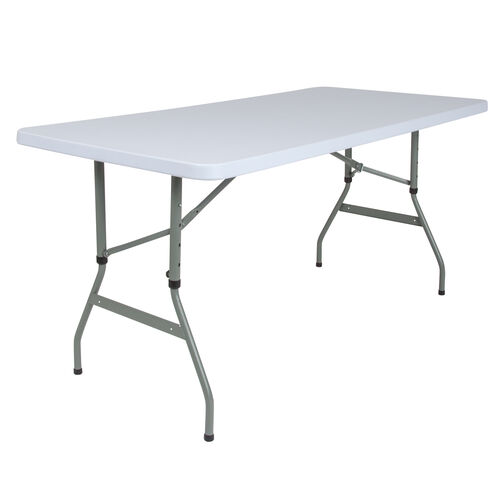 Our 5-Foot Height Adjustable Granite White Plastic Folding Table is on sale now.