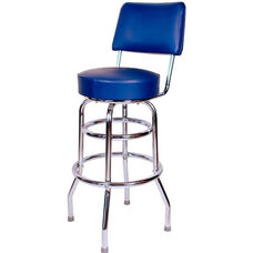 Retro Style Double Ring Chrome Frame 30'' Swivel Bar Stool with Backrest and Padded Seat - Blue Vinyl