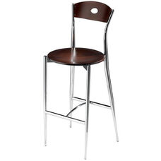 Cafe Twist Barstool with Maple Ply Wood Circle Back and Ply Wood Seat