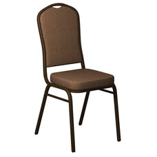 Crown Back Banquet Chair in Shire Acorn Fabric - Gold Vein Frame