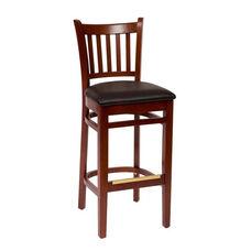 Delran Mahogany Wood Slat Back Barstool - Vinyl Seat