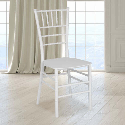 """HERCULES Series White Resin Stacking Chiavari Chair with <span style=""""color:#0000CD;"""">Free </span> Cushion"""