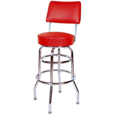 Retro Style Double Ring Chrome Frame 30'' Swivel Bar Stool with Backrest and Padded Seat - Red Vinyl