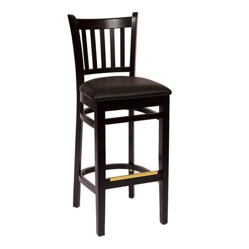 Our Delran Black Wood Slat Back Barstool - Vinyl Seat is on sale now.